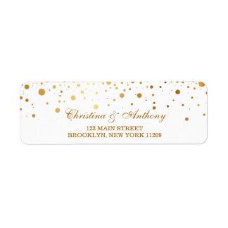 Gold Glam Wedding Confetti Return Address Labels