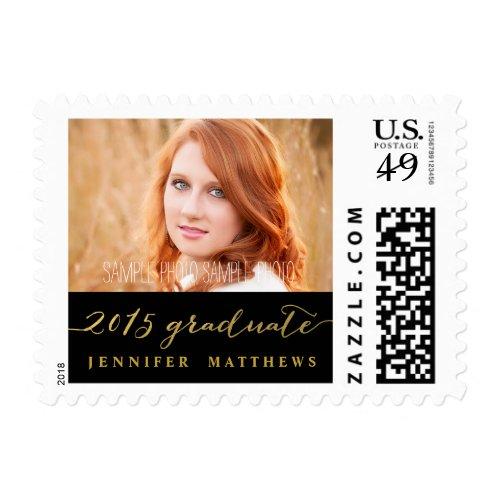 Gold Glamor 2015 Graduation Photo Stamp