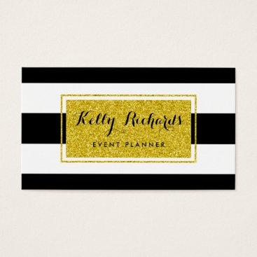 Professional Business Gold Glamor Black White Stripes Business Card