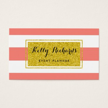 Professional Business Gold Glamor Coral Pink White Stripes Business Card