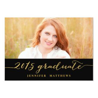 "Gold Glamor Photo 2015 Graduation Party Invitation 5"" X 7"" Invitation Card"