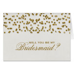 Gold Glamour Glitter Confetti Be My Bridesmaid Stationery Note Card