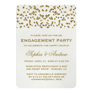 Gold Glamour Glitter Confetti Engagement Party Card