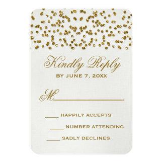 Gold Glamour Glitter Confetti Wedding RSVP Card