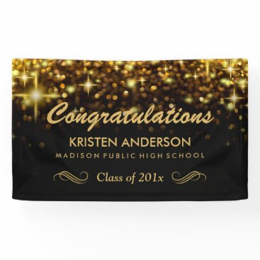 CardHunter Gold Glamour Glitter Sparkles Graduation Party Banner