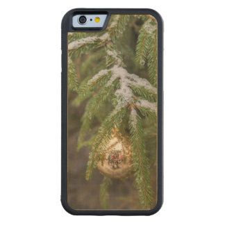 Gold Glass Christmas Ornament On Evergreen Tree Carved® Maple iPhone 6 Bumper Case