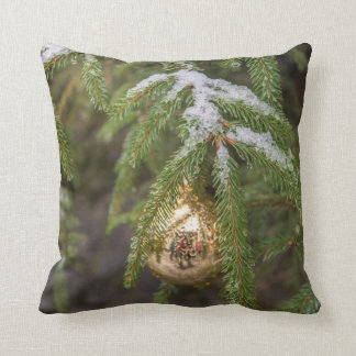 Gold Glass Christmas Ornament On Evergreen Tree Throw Pillows