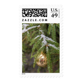 Gold Glass Christmas Ornament On Evergreen Tree Postage Stamps