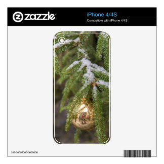 Gold Glass Christmas Ornament On Evergreen Tree Skin For iPhone 4S