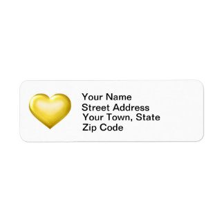 Gold glass heart label