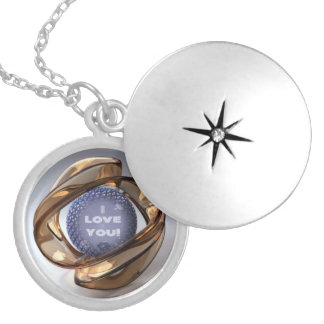 """Gold Glass: """"I love You"""" in silver plated Locket"""