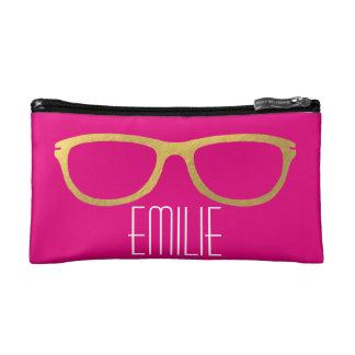 Gold Glasses Makeup Bag