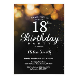 Gold Glitter 18th Birthday Invitation Card