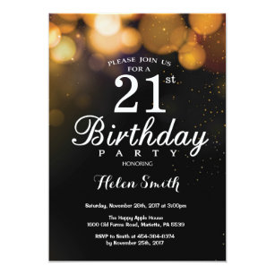 Black And Gold 21st Birthday Invitations Announcements Zazzle