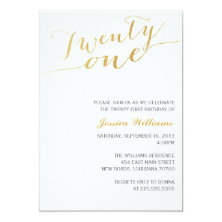 Gold Glitter 21st Birthday Party 5x7 Paper Invitation Card