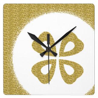 Gold Glitter 4 Leaf Clover Square Wall Clock