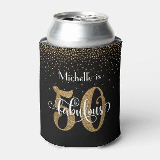 Gold Glitter 50 & Fabulous Typography Birthday Can Cooler