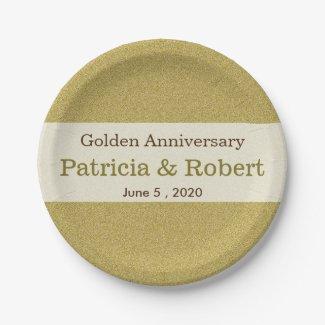Gold Glitter 50th Golden Wedding Anniversary