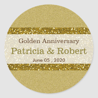Gold Glitter 50th Golden Wedding Anniversary Classic Round Sticker