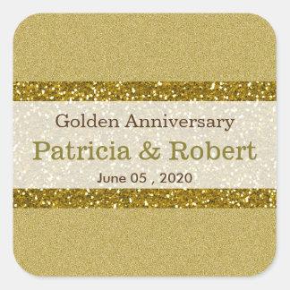 Gold Glitter 50th Golden Wedding Anniversary Square Sticker