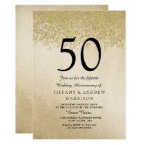 Gold Glitter 50th Wedding Anniversary Invitation