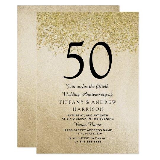 Gold Glitter 50th Wedding Anniversary Invitation