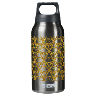 Gold Glitter Abstract Linear Geometric Pattern Insulated Water Bottle