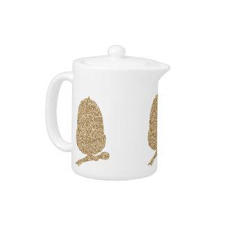 Gold Glitter Acorn Teapot