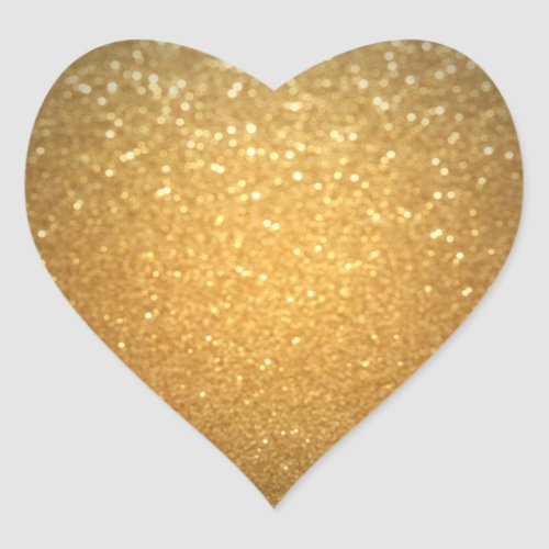 Gold Glitter Add Your Text Elegant Blank Template Heart Sticker