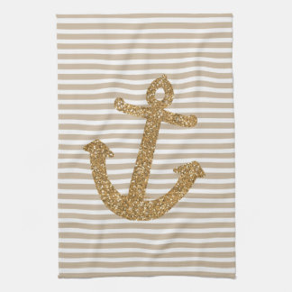 Gold Glitter Anchor Kitchen Towel