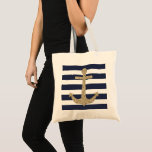 """Gold Glitter Anchor Navy White Stripes Tote Bag<br><div class=""""desc"""">This nautical 100% cotton tote bag features a chic faux gold glitter anchor on bold navy and white stripes.  Fully customizable. Navy stripes can be changed to another color.  Add your own typography to add a personalized touch. Original design by @Girl_o_licious.</div>"""