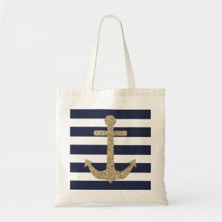 Gold Glitter Anchor Navy White Stripes Tote Bag