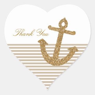 Gold Glitter Anchor Heart Sticker