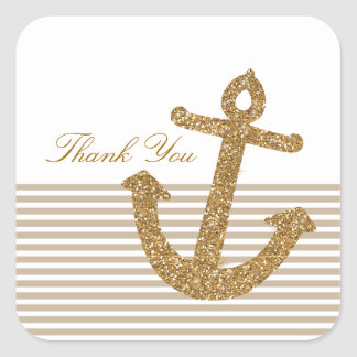 Gold Glitter Anchor Thank you Square Sticker