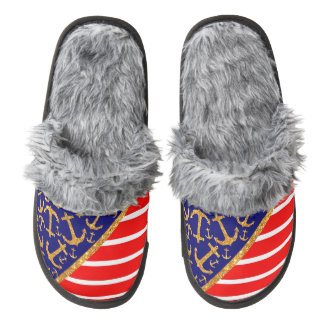 Gold Glitter Anchors on Blue Nautical Red Stripes Pair Of Fuzzy Slippers