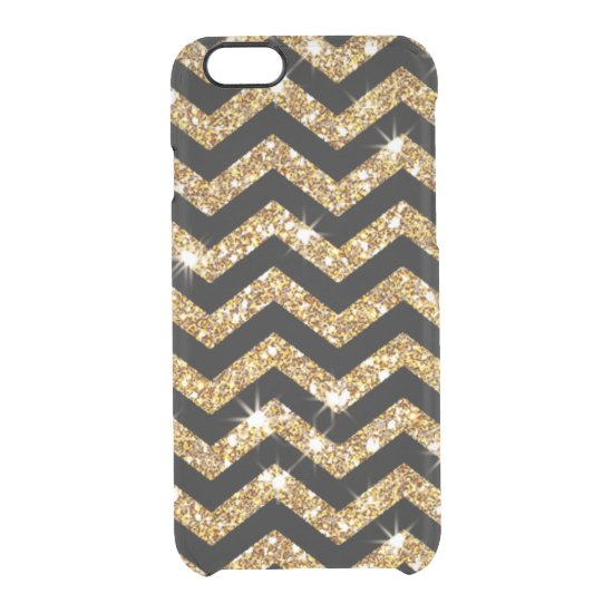 Gold Glitter and Black Chevron Design Clear iPhone 6/6S Case
