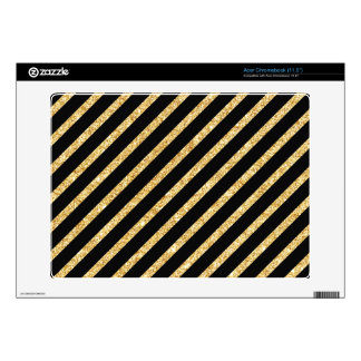 Gold Glitter and Black Diagonal Stripes Pattern Decal For Acer Chromebook