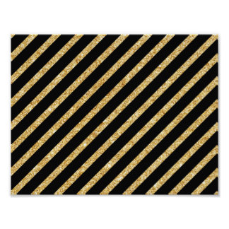 Gold Glitter and Black Diagonal Stripes Pattern Poster