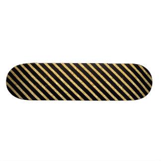 Gold Glitter and Black Diagonal Stripes Pattern Skateboard Deck