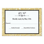 Gold Glitter and Black Frame- RSVP Response Card