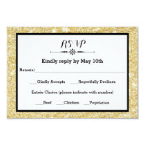 Gold Glitter and Black Frame- RSVP Response Card