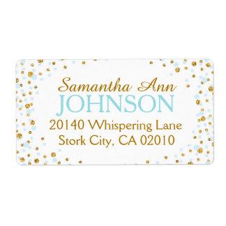 Gold Glitter and Blue Dot Sprinkles Label