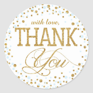Gold Glitter and Blue Sprinkle Thank You Label Classic Round Sticker