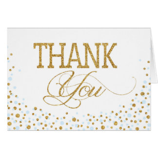 Gold Glitter and Blue Sprinkles Thank You Card