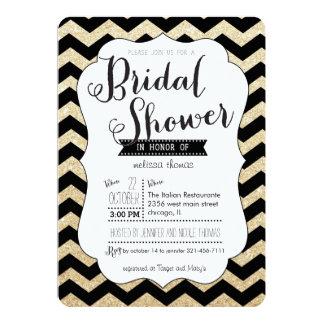 Gold Glitter and Chevron Bridal Shower Invitation