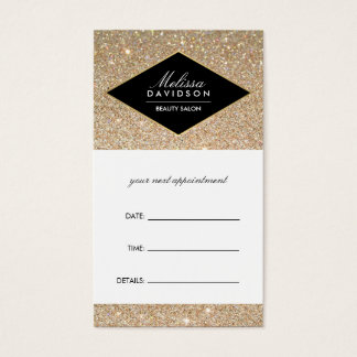 Gold Glitter and Glamour Beauty Appointment Card