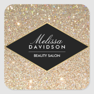 Gold Glitter and Glamour Beauty Square Sticker