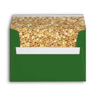 Gold Glitter and Green Envelope