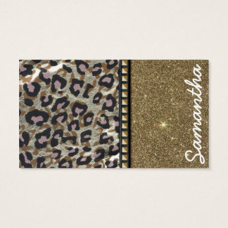 Gold Glitter and Leopard Monogram Business Card