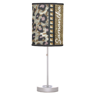 Gold Glitter and Leopard Monogram Desk Lamp